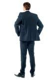 Durchdachter Geschäftsmann, Bild der hinteren Ansicht stockbilder