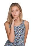 Durchdachtes jugendliches Mädchen Stockbilder