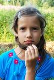 Durchdachtes junges Mädchen Lizenzfreies Stockbild