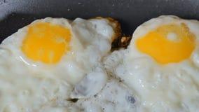 Durcheinandergemischte Eier auf heißer Bratpfanne mit Öl stock video