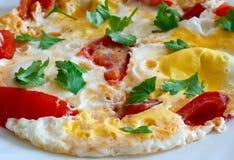 Durcheinandergemischte Eier mit Tomaten Lizenzfreies Stockbild
