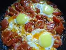 Durcheinandergemischte Eier mit Tomaten Lizenzfreie Stockfotos