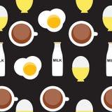 Durcheinandergemischtes Ei, weich gekocht Ei, Milch, Kaffee vektor abbildung