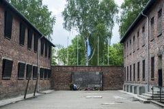 Durchführungs-Wandkonzentrationslager Auschwitz Birkenau KZ Polen des Blockes 10 Stockbild