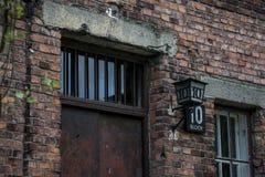 Durchführungs-Wandkonzentrationslager Auschwitz Birkenau KZ Polen 3 des Blockes 10 Stockfotografie