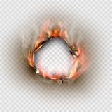 Durchlöchern Sie zerrissen in zerrissenes Papier mit gebrannt und Flamme vektor abbildung