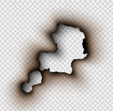 Durchlöchern Sie zerrissen in zerrissenes Papier mit gebrannt und Flamme lizenzfreie abbildung