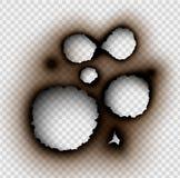 Durchlöchern Sie zerrissen in zerrissenes Papier mit gebrannt und Flamme stock abbildung