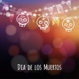 Durchmesser de Los Muertos, Halloween-Karte mit Lichtern, Hand gezeichnete dekorative Sculls Lizenzfreie Stockfotos