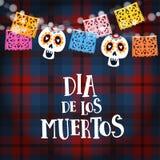 Durchmesser de Los Muertos, mexikanischer Tag der Tot- oder Halloween-Karte, Einladung mit Girlande von Lichtern, Sculls und hand stock abbildung