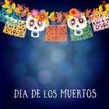 Durchmesser de Los Muertos, mexikanischer Tag der Tot- oder Halloween-Karte, Einladung mit Girlande von Lichtern, Sculls und hand lizenzfreie abbildung