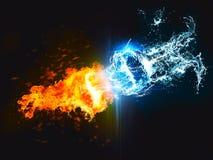 Gegen Gegen Unterzeichnen Sie Herein Feuer Spritzt Wasser Und Blitz