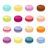 Durcissez l'illustration de vecteur de macaron ou de macaron, biscuits d'amande colorés, couleurs en pastel Macarons d'isolement  illustration stock