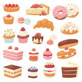 Durcissez le petit gâteau de confiserie de chocolat de vecteur et le dessert doux de confection avec le beignet confected par ill illustration libre de droits