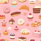 Durcissez le petit gâteau de confiserie de chocolat de vecteur et le dessert doux de confection avec le beignet confected par ill illustration de vecteur
