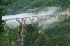 Durdevica bro över den Tara kanjonen Royaltyfri Bild