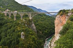Durdevica bro över gröna Tara Canyon - Montenegro Fotografering för Bildbyråer