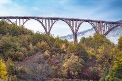 Durdevica Tara arc bridge in the autumn mountains, Montenegro. Stock Photos