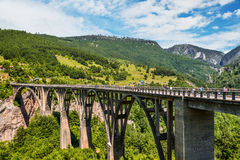 Durdevica Tara arc bridge. Mountain landscape, Montenegro. Durdevica Tara arc bridge in the mountains, One of the highest automobile bridges in Europe Royalty Free Stock Photo
