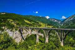 Durdevica Tara arc bridge. Mountain landscape, Montenegro. Durdevica Tara arc bridge in the mountains, One of the highest automobile bridges in Europe Stock Images