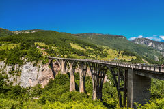 Durdevica Tara arc bridge. Mountain landscape, Montenegro. Durdevica Tara arc bridge in the mountains, One of the highest automobile bridges in Europe Stock Photography