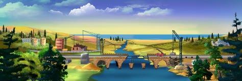 Durdevica Tara bågbro i bergen, nord av Montenegro bridge sikten york för horisont för panoramat för den brooklyn stadsmanhattan  Royaltyfria Foton
