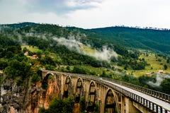 Durdevica Tara bågbro i nordliga Montenegro Royaltyfri Fotografi