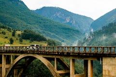 Durdevica Tara bågbro i nordliga Montenegro Arkivfoton