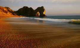 Durdle door. With blur water Stock Images