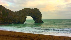 Durdle Door Beach with a rocks. stock video
