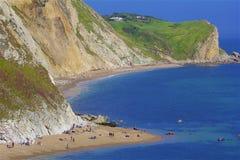 Durdle Door - Beautiful beaches of Dorset, UK. Durdle Door and beaches of Jurassic coast in England royalty free stock photo