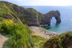 Durdle door - Beautiful beaches of Dorset, UK. Durdle Door and beaches of Jurassic coast in England stock photos