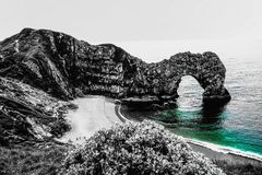 Durdle Door black and white colour royalty free stock images