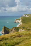 Durdle Door coastline Dorset. Dorset coastline looking towards Durdle Door, the route of the South-West coastal path Stock Photo