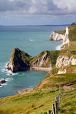 Durdle Door coastline Dorset. South West coastal path on Dorset coastline looking towards Durdle Door Royalty Free Stock Photos