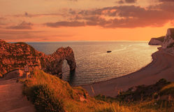 Durdle door and cove in the evening, UK Stock Images