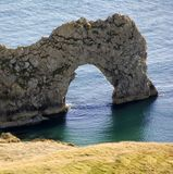 Durdle door from dorset coast path england Stock Image