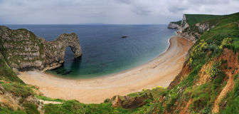 Durdle Door panorama - Dorset, England Royalty Free Stock Photos