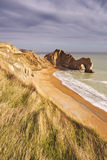 Durdle Door rock arch in Southern England from above Stock Images