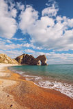 Durdle Door rock formations on coast in Dorset, England. Lovely summer scene in Dorset England Stock Photo