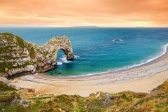 Durdle Door, natural limestone arch on the Jurassic Coast near Lulworth in Dorset, England. stock image