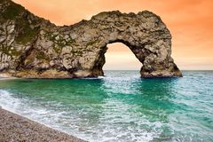 Durdle Door, natural limestone arch on the Jurassic Coast near Lulworth in Dorset, England. stock photo