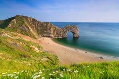 Durdle dörr på den Jurassic kusten av Dorset, UK Arkivfoto