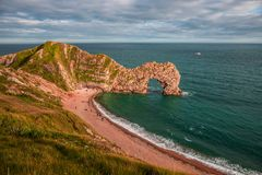 Durdle-Tür, Jura- Küste West- Lulworth, Dorset, Süd-England stockbilder