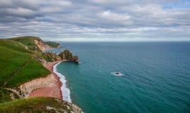 Durdle-Tür, Jura- Küste West- Lulworth, Dorset, Süd-England stockbild