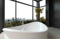 Dure luxebadkuip tegen panoramisch venster met cityscape mening stock illustratie