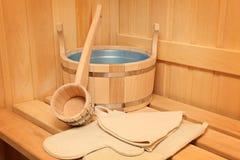 Durée toujours des accessoires d'une salle de bains de vapeur Image libre de droits