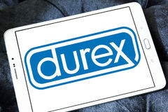 Durex condoms company logo. Logo of the world`s No.1 brand for condoms, durex on samsung tablet Stock Photo