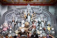 Durga förebild på Puja Pandal, Durga Puja festival Arkivbild