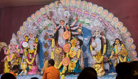 Durga Festival. Hindu priest performing durga puja during the ongoing durga festival stock photo